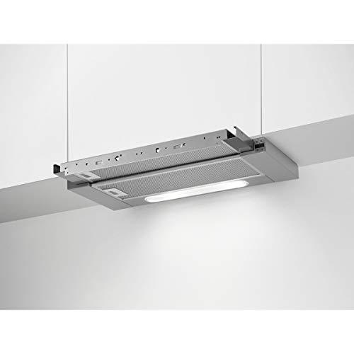 AEG DPB5650M Flachschirm-Dunstabzugshaube / Abluft oder Umluft / 60cm / Grau / max. 448 m³/h / min. 51.3 – max. 70.15 dB(A) / SoftTouch Tasten