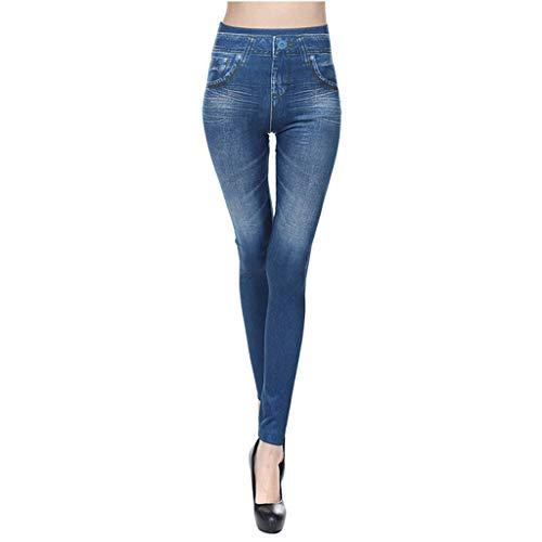 Ansenesna Hose Jeansoptik Damen High Waist Eng Elegant Jeggings Frauen Stretch Skinny Gummizug Freizeit Hosen (Himmelblau,XXL)