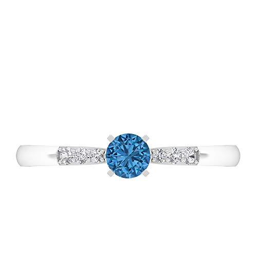 Rosec Jewels - Anillo de peridoto solitario de 4 mm creado en laboratorio con diamante, anillo de compromiso de oro (calidad AAAA), 14K White Gold, Lab Created Peridot, Size:US 46