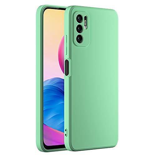 Cresee Funda de silicona compatible con Xiaomi Redmi Note 10 5G, con protección de cámara, interior de fibra, carcasa fina antiarañazos, antigolpes, color verde