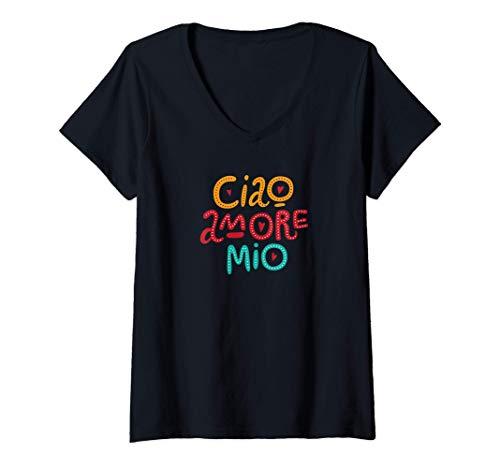 Donna Ciao Amore Mio Maglietta con Collo a V