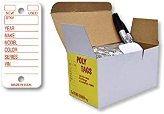 Poly Tag Key Tags with Ring (White) – 250 Key Tag Count. Includes 250 Rings and 2 Fine Point Pens. Car Key Tags Plastic || Automotive Key Tags || Dealer Tags