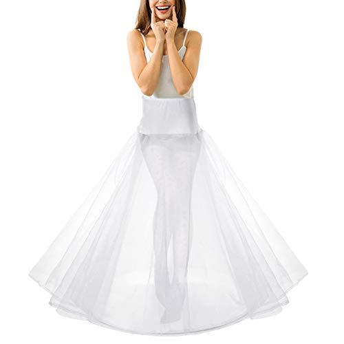 LONGBLE Petticoat weiß Unterrock für Brautkleid Lang Reifrock mit 1 Ring 2 Tülle Hochzeit Party Barock Kleid Crinoline Underskirt Krinoline Bühnenkleidung