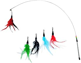 KELIFANG Cat Wand Cat Teaser Cat Wire Dangler Feather Interactive Toys with Beads Bells and Feather Refills Set for Cat and Kitten