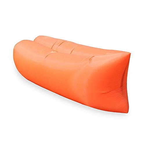 Camping Gonfiabile Divano Lazy Bag 3 Stagione Ultralight Piuma Sacco a Pelo Materassino Gonfiabile Divano Lounger, Pieghevole Air Mattress (Color : Orange)