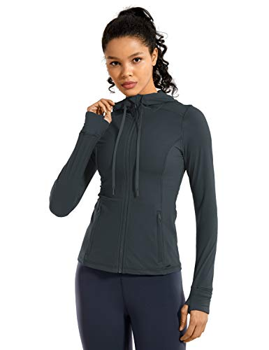 CRZ YOGA Women's Brushed Full Zip Hoodie Jacket Sportswear Hooded Workout Track Running Jacket with Zip Pockets Carbon Gray Medium
