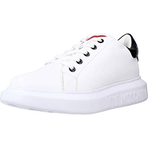 Love Moschino JA15284G1C Baskets Basses pour Femme - - Blanc, Noir, 39 EU EU