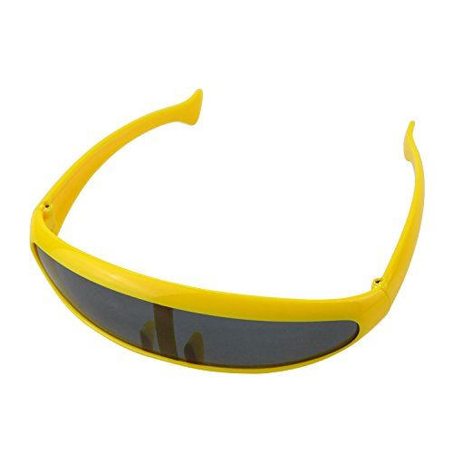 eBerry Futuristic Cyclops Robot Sunglasses Novelty Party Rave Futuristic Clear Lens (Yellow)
