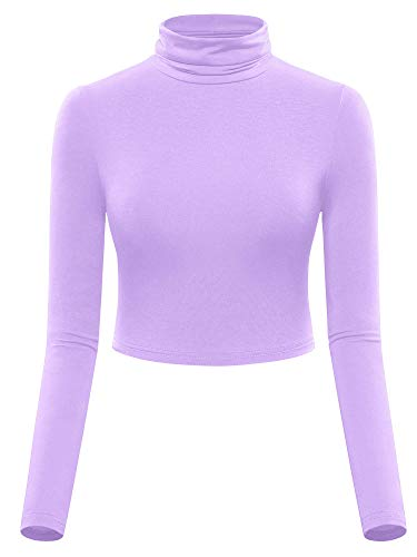 MSBASIC Stretchy Light Weight Crop Top Shirts for Women Lavender XL