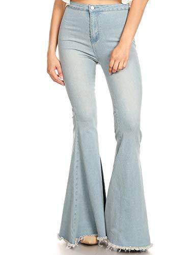 Anna-Kaci Women's Classic Retro High Waist Long Denim Bell Bottom Jeans, Light Denim, Large
