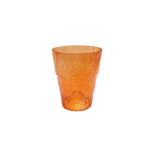 Blumentopf rund Orchideentopf Orchidee D 130 mm H 165 mm Glas Übertopf Kristall Glasscherben orange