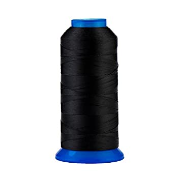 Selric [1500Yards / 30 Colors Available] UV Resistant High Strength Polyester Thread #69 T70 Size 210D/3 for Upholstery Outdoor Market Drapery Beading Purses Leather   Black