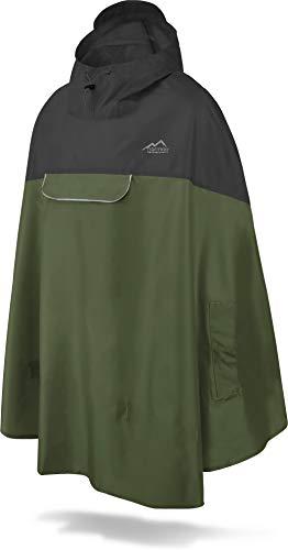 normani Unisex Regenponcho - Wind und Wasserdicht mit Bauchtasche, 3M Refelktoren und seitlichen Eingriffen Farbe Schwarz/Oliv Größe S