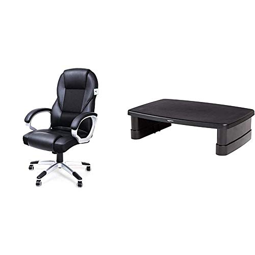 SONGMICS Executive Office Chair with High Back, Durable and Stable, Height Adjustable, Ergonomic, Black, OBG22BUK & Amazon Basics Adju+C59:Z59stable Monitor Stand