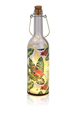 BRUBAKER Lichterflasche mit Aufdruck Flamingo mit Palmen und 5 LED Lichtern 7,3 x 28 cm zum Aufhängen