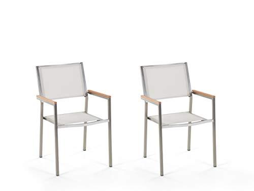 Beliani Gartenstuhl Set 2 Stühle Textilene/Edelstahl weiß Grosseto