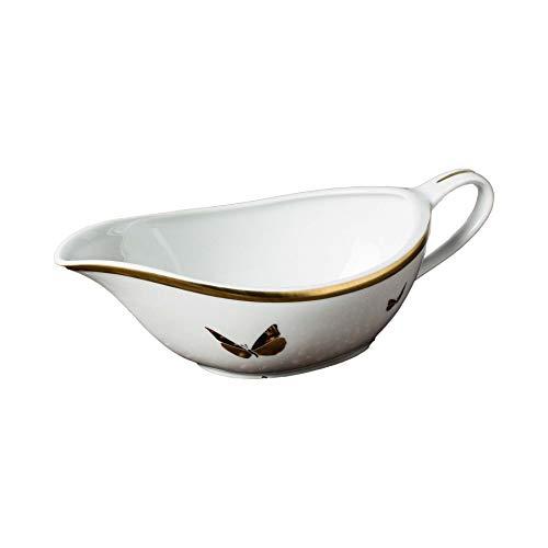 The Cocoonalist - Salsera tradicional de porcelana de limoges, decoración de oro...