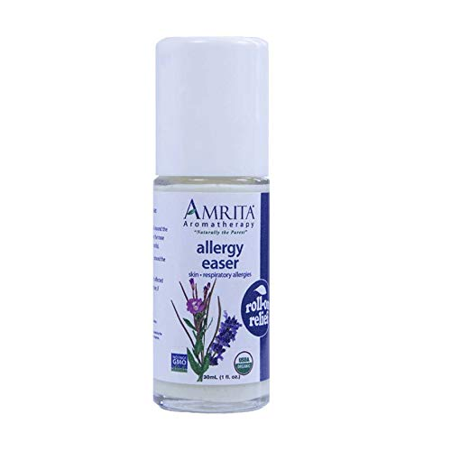 Amrita Aromatherapy Organic Allergy Easer Roll-On Relief, Natural Allergy Relief, Organic Lotion Base with Blue Chamomile, Amni Visnaga, Lavender, Palmarosa and Hyssop Essential Oils, 30 milliliters