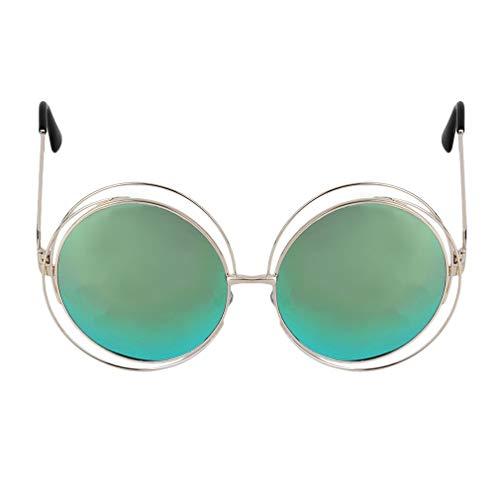 New Fashion Metal Wire Circle Retro Double Round Design Persoonlijkheid Zonnebril Buitensporten Groot montuur Sunglassesgold