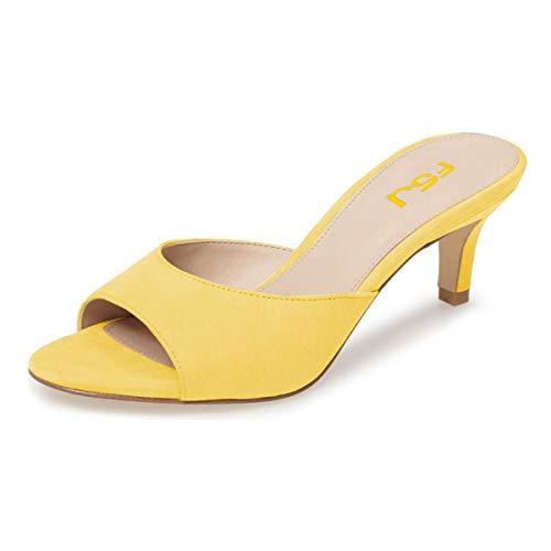 FSJ Women Comfort Low Heel Mules Peep Toe Suede Sandals Slip On Dress Pump Shoes 6CM Yellow Size 10