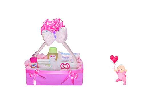 Windeltorte ❥ Windelkörbchen ❥ Baby Geschenkset zur Geburt & Taufe (Mädchen)