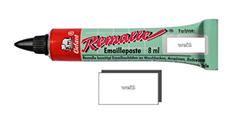 Helmecke & Hoffmann Remalle Emaille Paste Emaillelack Reparaturlack Lack in vielen Farben je 8 ml + Pinsel Fuer Jede Tube (weiß)