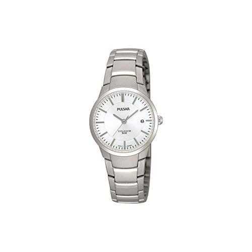 Pulsar dames analoog kwarts horloge met titanium armband PH7129X1