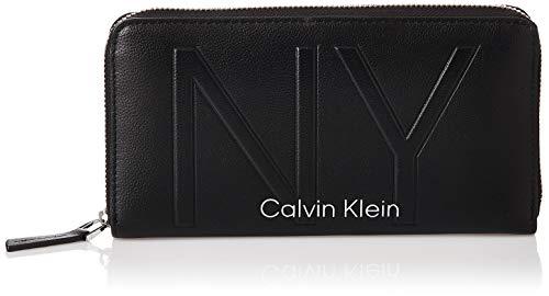Calvin Klein - Shaped Lrg Ziparound, Carteras Mujer, Negro (Black), 14x3x22 cm...