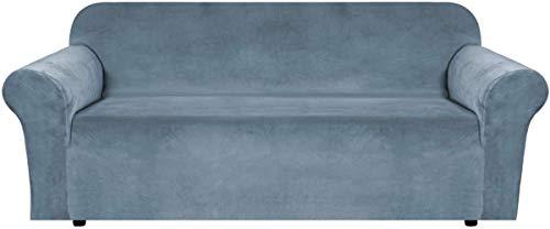 BellaHills Sofá de Terciopelo elástico con Funda Protectora para sofá Suave con Fondo elástico de Espuma Antideslizante para niños, Funda de sofá de Terciopelo Suave y Grueso (3 plazas, Azul Piedra)