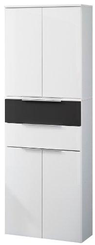 Fackelmann 80929 Hochschrank Kara Bianco, 4 Türen, 2 Schubladen (je 1 x Anthrazit und weiß), 2 Einlegeböden, BxHxT: 61 x 176 x 32 cm