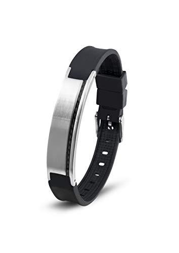 Lunavit Magnetschmuck Armband aus Silikon und Edelstahl mit Carbon für Damen und Herren, schwarzes sportliches Powerarmband, längenverstellbar