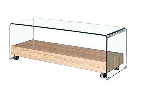 Mueble de TV de cristal transparente – Bandeja con base de madera decorativa de roble – Diseño moderno – Ice