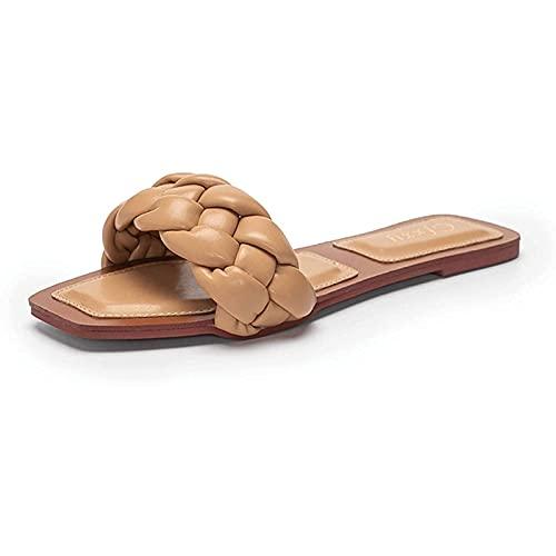 Sandalias Planas Deslizantes con Tiras Trenzadas para Mujer con Punta Abierta para El Ocio de Verano Sandalias de Playa para La Playa Interior (Color : Camel, Size : 38EU)