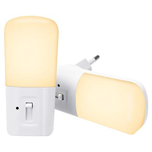 LOHAS LED-nachtlampje met Lichtsensor, nachtlampje met stopcontact, Dimbaar van 5LM tot 80LM, 3000K Warmwit, voor Kinderkamer, Trap, Gang, Badkamer, 1 Watt = 15 Watt, 180 ° Stralingshoek, 2 Stuks