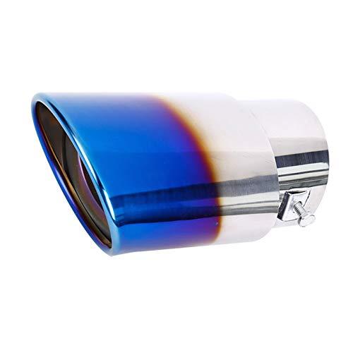 65 mm Tubo de Escape de Acero Inoxidable para Coche Silenciador Trasero del Coche Soltero Salida Oblicua Garganta Trasera Terminales de Escape de Cola, Azul Cromado
