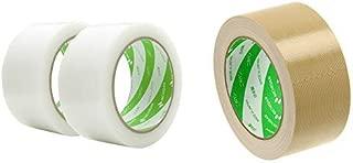ニチバン 養生テープ フィルムクロス テープ 2巻 幅50mm×25m巻 18550-2P 白 &  布テープ 50mm×25m巻 121-50 黄土