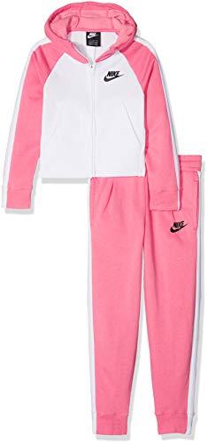 Nike G NSW TRK Suit PE Tuta, Bambina, Rosa (Pink Nebula/White/Black 614), 146 (Taglia Produttore:L)