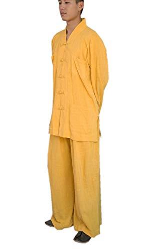 Katuo da uomo Monk religione buddista tuta Casual Scollo A V Set M-XXL Yellow XX-Large