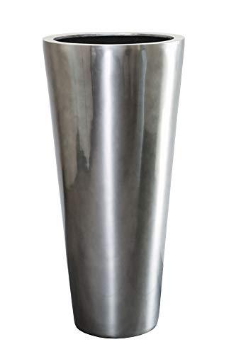 Vivanno Pflanzkübel Blumenkübel Rondo Classico Silber Metallic (80 x 38)