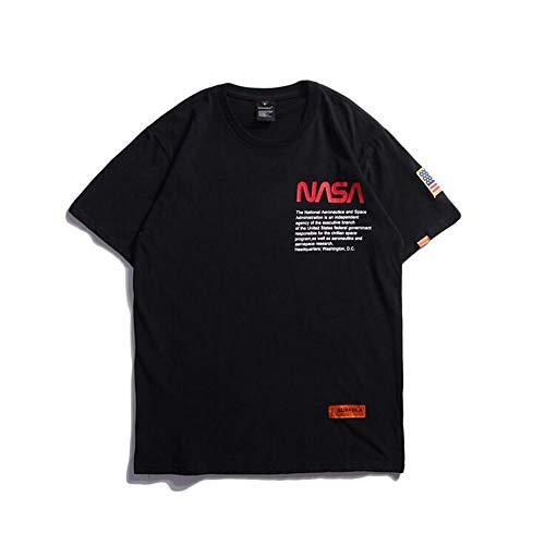 Hbche Unisex Astronauta de la NASA de Manga Corta Camiseta Hombres Mujeres Jóvenes Hip-Hop Ocio T Unisex, Negro, Blanco (Color : Black, Size : XL)