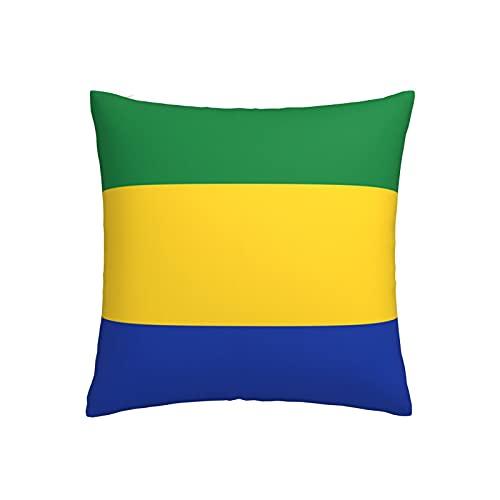 Kissenbezug mit Flagge von Gabun, quadratisch, dekorativer Kissenbezug für Sofa, Couch, Zuhause, Schlafzimmer, Indoor Outdoor, niedlicher Kissenbezug 45,7 x 45,7 cm