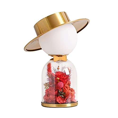 Lampara Mesilla Lámpara de mesa de cristal Lámpara de mesa de hierro Hogar sala de estar dormitorio noche lámpara de noche romántica creativo vidrio incorporado exquisito flor táctil lámpara decorativ