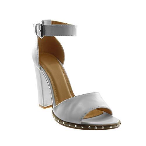 Angkorly - Damen Schuhe Sandalen Pumpe - knöchelriemen - Nieten - besetzt - String Tanga Blockabsatz high Heel 10.5 cm - Weiß 88-252 T 38