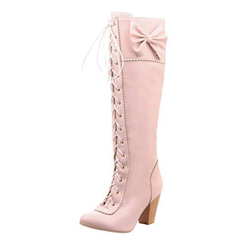 COZOCO Damen Bowknot High Boots Solid Color Lace-up Long-Shaft Stiefel Runde Zehen High Heel Freizeit Stiefel wasserdichte Quadratische Ferse Stiefel(Rosa,37 EU)