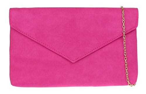 Girly Handbags del bolso de embrague Llanura - Fucsia