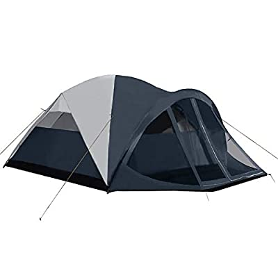 Pacific Pass Camping Tent 6 Person Family Dome Tent with Screen Room & Removable Rain Fly, Easy Set Up for Camp Backpacking Hiking Outdoor