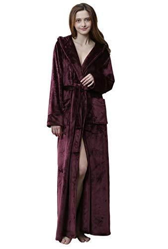 Suave Comodo Albornoz Baño,Homewear Bata Baño,Albornoz de Hotel con Capucha, Vestido de Noche cálido Grueso y Largo, Rojo Vino_XL