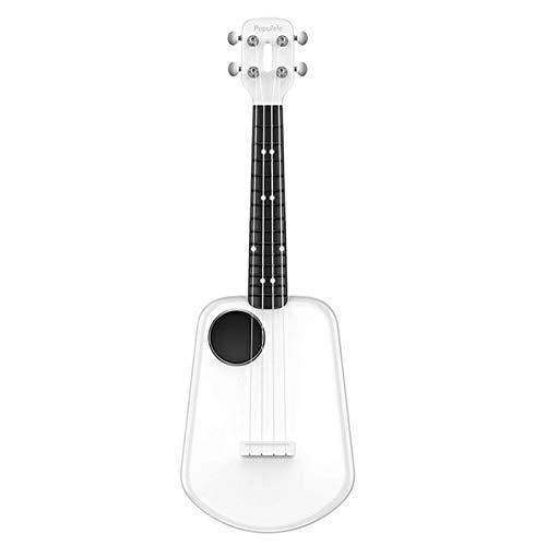 Cutaway Guitar23 pulgadas de fibra de carbono USB Smart Ukelele APP Control con cuentas de lámpara LED, guitarra de madera maciza (tamaño: 23 pulgadas; color: blanco)