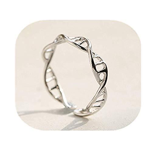 GYKMDF Anillo de plata de ADN, anillo de plata, anillo de química, anillo de...