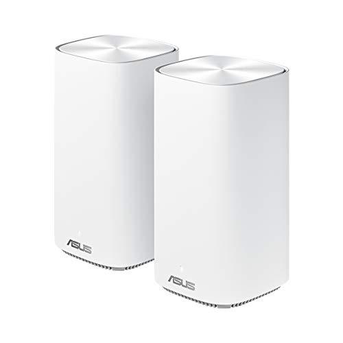 Asus Ai Mesh System ZenWiFi AC Mini CD6 Weiß (2in1 Mesh Zugangspunkte-Set, AC1500 WiFi 5, 3x Gigabit LAN, App Steuerung, unterbrechungsfreies Roaming, AiProtection)